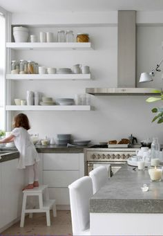 white kitchen with accents of - white