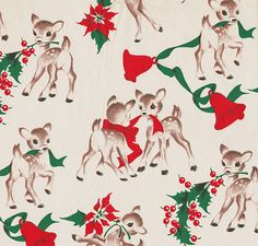 Vintage Ben-Mont Reindeer Christmas Gift Wrap * 1500 free paper dolls Christmas gifts artist Arielle Gabriels The International Paper Doll Society also free paper dolls The China Adventures of Arielle Gabriel *