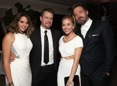 Luciana Barroso, Matt Damon, Sienna Miller & Ben Affleck from Golden Globes 2017 Party Pics  The famous pals and co-stars coordinated in black and white ensembles at the Amazon Studios after-party.