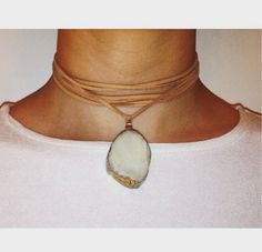Tan Leather Choker with White Druzy Stone by EscapedFromOrdinary on Etsy