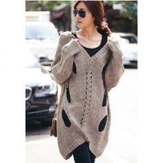 Trendy V-Neck Holes Batwing Sleeve Sweater For Women. Sammydress #Thanksgiving Wishlist.