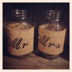 Burlap mason jars mr mrs stencil country wedding center piece bride groom table