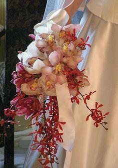 Orchid wedding bouquet ... Wedding ideas for brides, grooms, parents & planners ... https://itunes.apple.com/us/app/the-gold-wedding-planner/id498112599?ls=1=8  ... The Gold Wedding Planner iPhone App.