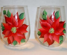 paint poinsettia on glass | Hand Painted Poinsettia Stemless Wine Glasses | Flickr - Photo Sharing ...