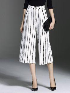 #AdoreWe StyleWe Cropped Pants - Lavidione White Stripes Work Pockets Cropped Pants - AdoreWe.com