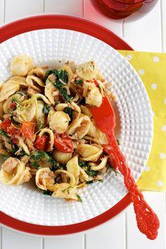 Orecchiette With Salmon, Spinach, Tomatoes