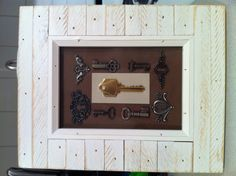 Framed the key from our first apartment together to hang above the key rack by the door. My first DIY project!