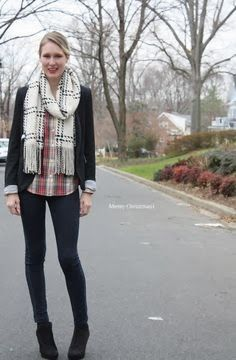outfit- plaid & black booties.