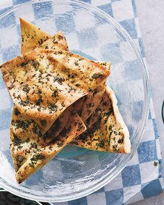 Herb-Rubbed Pitas Recipe -- Serve alongside our roasted-eggplant dip