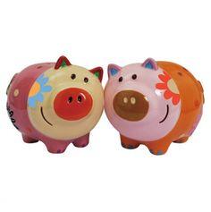 Westland Giftware Cozy Pigs Magnetic Ceramic Salt and Pepper Shaker Set,
