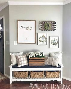 bench filled with pillows crate full of mums and sign with the sweetest saying of all - And above all else Love Living Room Bench, Home Living Room, Living Room Decor, Cheap Home Decor, Diy Home Decor, Urban Home Decor, Decor Crafts, Bench Decor, Entryway Decor