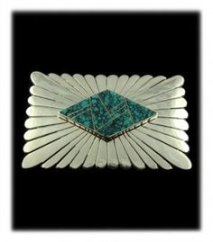 Inlay Timberline Spiderweb Turquoise Belt Buckle by Navajo Jewelry artisan John Charley.