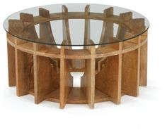 Geometric wooden coffee table with a glass top. Architectural, sleek lines give great dimension and interest to this dial or gear shaped side table. See our listings for the matching side or console t Design Salon, Deco Design, Wood Design, Unique Furniture, Wooden Furniture, Furniture Design, Glass Furniture, Outdoor Furniture, Luxury Furniture
