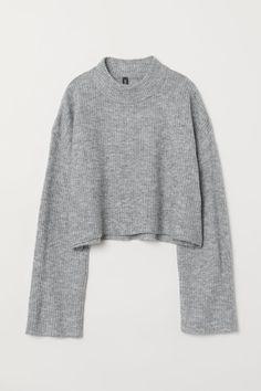 H&M Knit Mock Turtleneck Sweater - Gray Hm Outfits, Casual Outfits, Fashion Outfits, Fashion Weeks, Spring Outfits, Lace Denim Shorts, Denim Outfit, Alternative Mode, Alternative Fashion