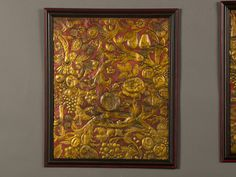 A rectangular embossed leather panel with its original gilded and painted decoration from Spain c.1850.