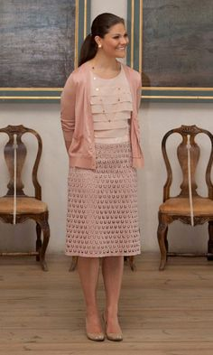 "HRH Crown Princess Victoria of Sweden in Swedish designer Mayla for the opening of the exhibition ""Princess Estelle - Birth and Christening"" at Strömsholm Palace, Sweden. May 15, 2013."