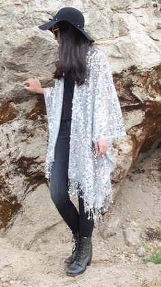 dbdb5e85a Festival Silver Gray Metallic Round Sequin Sheer Caftan with Tassels Kimono  Top Cardigan Duster Disco One size Fit SML Plus Size