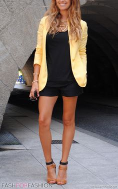 shorts with blazer and heels...love from head to toe