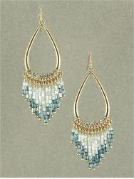 GOLD TONE CLEAR AND BLUE BEADED CHANDELIER EARRINGS