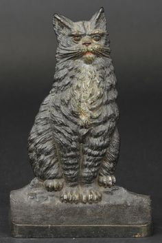 """B&H SITTING CAT DOORSTOP Very rare, marked """"B&H,"""" cast iron, great quality detailed casting of sitting cat on base. 7 3/8"""" h. (Near Mint Con..."""