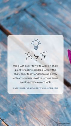 Easily distress chalk paint, like @dixiebellepaint, with a wet paper towel. Allow the chalk paint to dry to the touch and then rub the area gently with a paper towel to create a slightly distressed look. Like and follow for more tips! #TuesdayTip #Furniture #Wood #DIY #UnfinishedFurnitureofWilmington