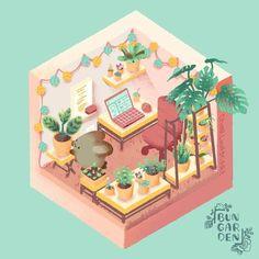 Friend of mine draws these adorably cozy bunny rooms : CozyPlaces Bunny Room, Cute Buns, Pallet Garden Furniture, Galaxy Theme, Garden Drawing, Farmhouse Bedroom Decor, Cozy Corner, Cozy Room, Cozy Cabin