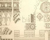 1845 Rare Large English Antique Engraving of British Architectural Gems. Saxon Era. Mouldings and Columns.Plate 19