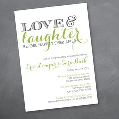 Love and Laughter Rehearsal Dinner Invitation  by kmdDesignsLLC