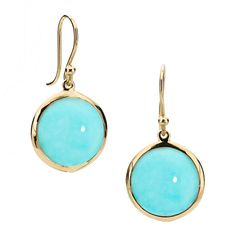 Simple round drop earrings in turquoise set in 18kt yellow gold. ON SALE $455