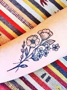 Jennifer Lawes tattoo - Pearl Harbor Gift Shop @ Great Lakes Tattoo Chicago. Girl, tattoo, floral tattoo, flower tattoo.