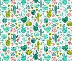 Cacti in watercolor - spoonflower