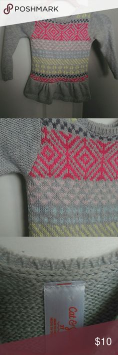 NWOT 2T Cat & Jack Aztec Sweater NWOT! Never worn. 2T Cat & Jack Aztec Sweater with pink, yellow, aqua, and grey design. Super soft with a peplum waist! Has a little stretch! Cute with jeans or leggings! Cat & Jack Shirts & Tops