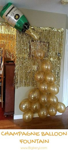 Love Gold Foil Balloons for Wedding Bridal Shower Hen Party : DIY Bubbly Balloons Decoration for Bachelorette Bridal Shower New Years Eve Party! Make this balloon art with our Champagne bottle large balloon and champagne latex balloon set. Champagne Balloons, Gold Confetti Balloons, Champagne Party, Champagne Bottles, Foil Balloons, Gold Champagne, Champagne Birthday, 50th Birthday Party, Birthday Balloons