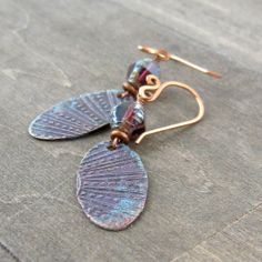 Etched copper earrings - rustic sea urchin inspired earrings - purple and copper earrings by SouthWindDesign.etsy.com