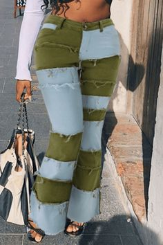 Hot Dress, Jumpsuit Dress, Denim Fashion, Fashion Outfits, Purple And Gold Dress, Camouflage Fashion, Patchwork Jeans, Green Jeans, Yellow Fashion