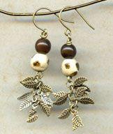 Earrings - Swazi Leaf @antelopebeads.com #kazuri #beading