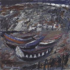 Boats at Nazaré, Portugal by Anne Redpath