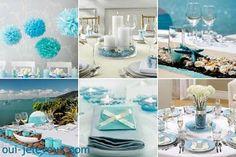 Décoration de table, contenants à dragées,faire-part, chaussures, wedding cakes...Le bleu turquoise, c'est tendance et on comprend pourquoi:cette couleur est magique... elle invite à l'évasion!