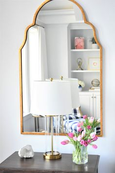 Bedroom with mirror above nightstand. Mirror is by Image Home. Nightstand Mirrors Kate Abt Design above nightstand bedroom ideas Serene Master Bedroom & Master Bathroom Design Relaxing Master Bedroom, Bedroom Nook, Diy Home Decor Bedroom, Blue Bedroom, Trendy Bedroom, Bedroom Ideas, Master Bathroom, Mirror Bedroom, Bathroom Black