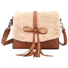 df84d8a6f5b3 Brown Tassel Bowknot Crossbody Bag (830 RUB) ❤ liked on Polyvore featuring  bags