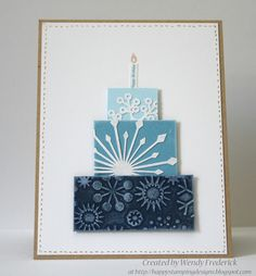 Happy Stamping Designs: A happy wintery birthday card made by cutting snow flakes then adhering them to pieces of cardstock, dry embossing snow flakes for the bottom layer. Ink edges of the cardstock with white pigment ink (also rubbed some of that ink on the raised areas of the embossed bottom layer).