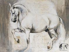 "Artist Elise Genest Arts & Chevaux Paloma mixed media on canvas 36x48"" photo credi Katia JC"