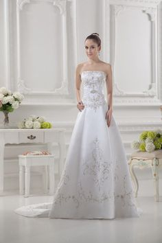 A-Line Strapless Satin Court Train Wedding Dress