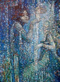 painted or mosaic? This gives me an idea for a bathroom shower tile mosaic… Mosaic Artwork, Mosaic Wall, Mosaic Glass, Mosaic Tiles, Mosaic Bathroom, Blue Mosaic, Mosaic Crafts, Mosaic Projects, Art Projects