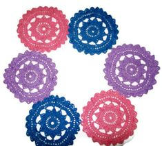 Colorful Crochet Doilies/Coasters Set Of 6 by amydscrochet on Etsy, $10.00 #pcfteam