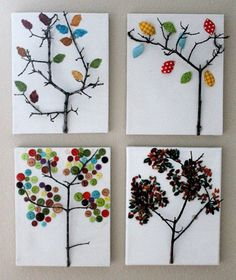 """Tree art from """"real"""" branches - find some backyard twigs to serve as your tree's trunk, then glue on your leaves of choice.  Kids activities curated by SavingStar. Get free grocery coupons at savingstar.com"""