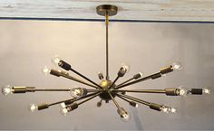 Mid-Century-Modern-Brass-Sputnik-atomic-chandelier-starburst-light-Fixture