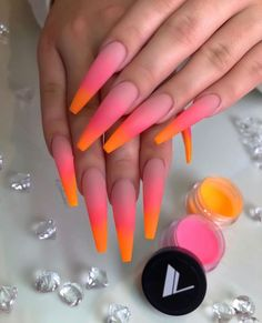 Nails ombre Valentino Acrylic Blends So Nice 🍊🍉 Which Collection/ Color Is Your Favori. Valentino Acrylic Blends So Nice 🍊🍉 Which Collection/ Color Is Your Favorite? Glow Nails, Aycrlic Nails, Dope Nails, Manicure, Coffin Nails, Fall Nails, Blush Nails, Bright Summer Acrylic Nails, Pink Acrylic Nails