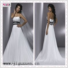 A line Backless Tulle Black And White Wedding Dresses 2012-in Wedding Dresses from Apparel & Accessories on Aliexpress.com