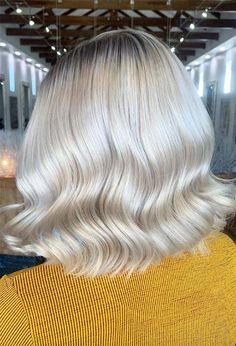 59 Icy Platinum Blonde Hair Ideas: Platinum Hair Color Shades to Inspire Summer Blonde Hair, White Blonde Hair, Dyed Blonde Hair, Icy Blonde, Silver Platinum Hair, Platinum Blonde Hair Color, Messy Bob Hairstyles, Haircuts, Blonde Hair Colour Shades